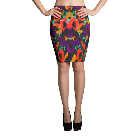 Paris METRO Couture: Posie Flower Reds Pencil Skirt