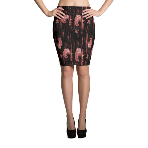 The Mauve Carnation Salsa Flower Bodycon Spandex Stretch Pencil Skirt