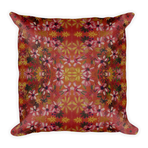 Flower Field Boho Square Pillow Original Art Prints