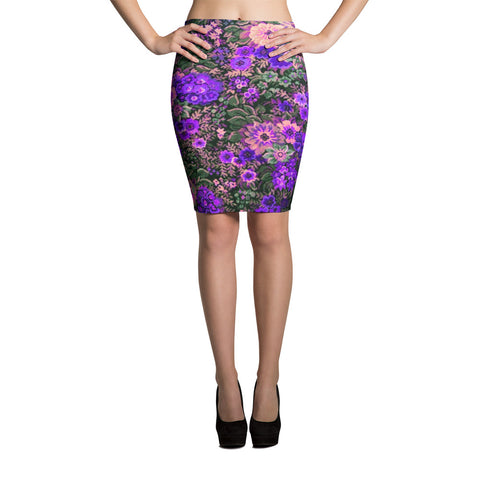 Boho Flower Field In Purple Bodycon Spandex Stretch Pencil Skirt