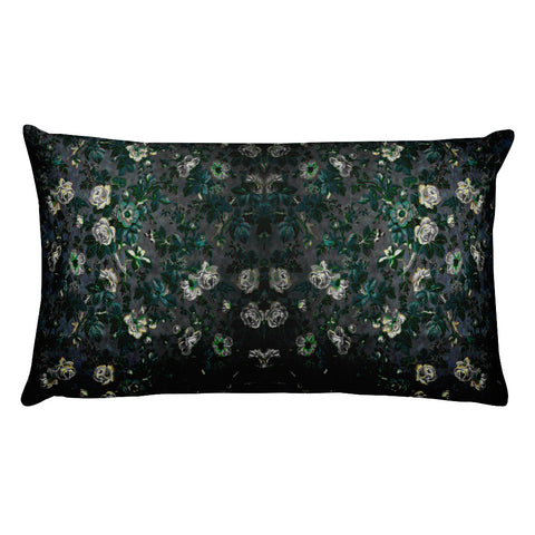 Boho Floral White Rose Rectangular Pillow