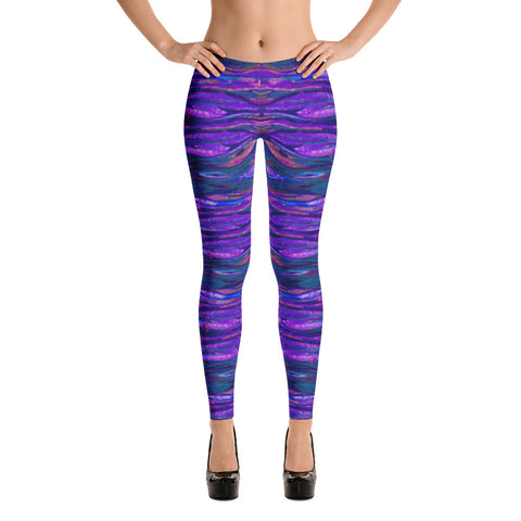 Feather Wind Spandex Bodycon Stretch Blue Leggings