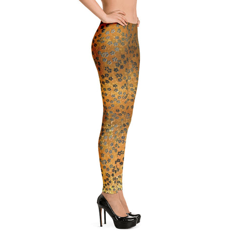 On My Way Stretch Spandex Bodycon Little Flower Leggings-Gold