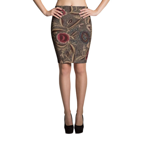 Folk Vine Spandex Bodycon Stretch Pencil Skirt-Brown