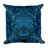 Abstraction Petal Blue Square Pillow