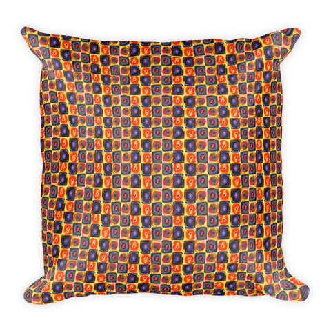 Circle in a Square, Square Pillow - Warm Tones
