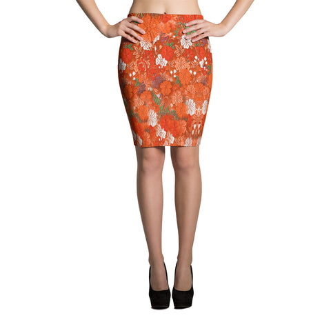 Kimono Floral Sexy Spandex Pencil Skirt-Orange