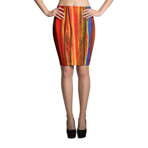 Pastel Stripe Red Stretch BodyconPencil Skirt