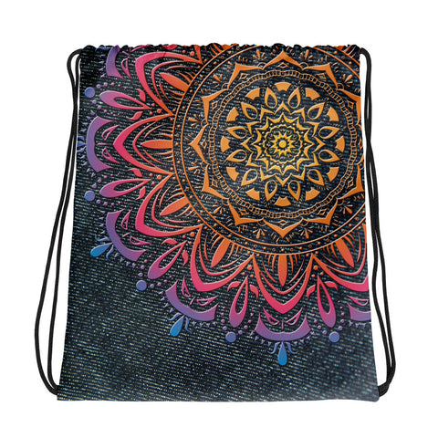 Mandala Rainbow Denim Print Drawstring bag