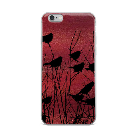 Shadow Birds on Port Red Cell Phone Case - Fits iPhone X and Other Sizes 5-X