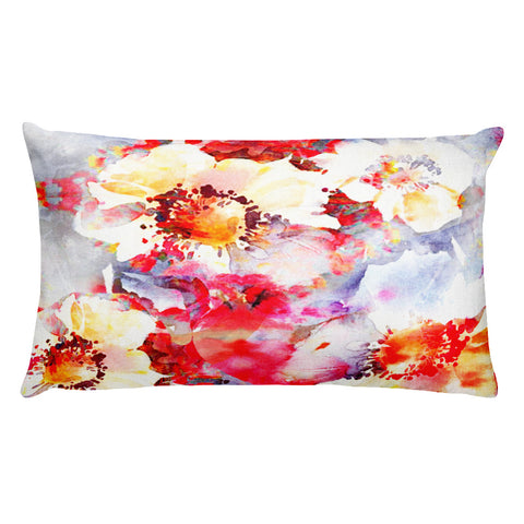 Watercolor Big Beautiful Flower Rectangular Pillow