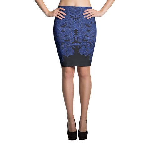 Paris METRO Couture: Mon Amour Pencil Skirt - Peony & Navy