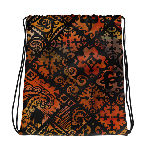 Hawaiian Vintage Block Print in Brown Orange Drawstring bag