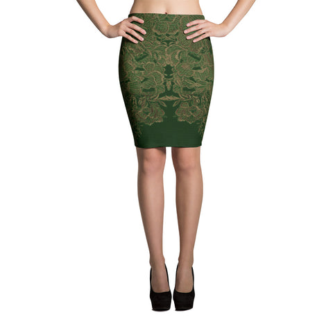 Lace All Over Spandex Bodycon Stretch Pencil Skirt-Green