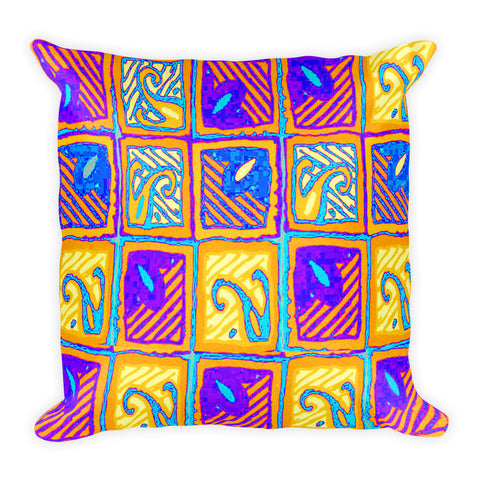 Hawaiian Vintage Wood Block Repeat - Yellow Square Pillow