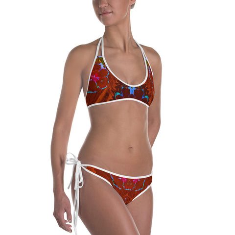 Beautiful Wave Hibiscus Flower Reversible Bikini - Exclusive