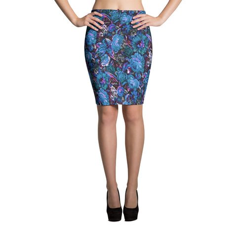 Boho Vintage Floral Blue Bodycon Spandex Stretch Pencil Skirt