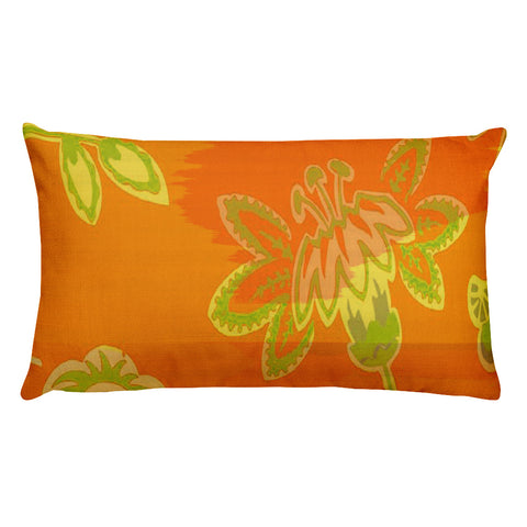 Hawaiian Vintage Floral Spray in Orange Green Rectangular Pillow