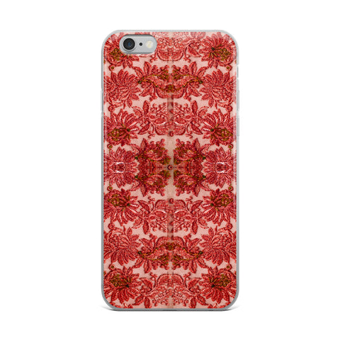 French Lace in Red Pink Cell Phone Case - Fits iPhone X and Other Sizes 5-X
