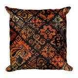 Hawaiian Vintage Block Print in Brown Orange Square Pillow