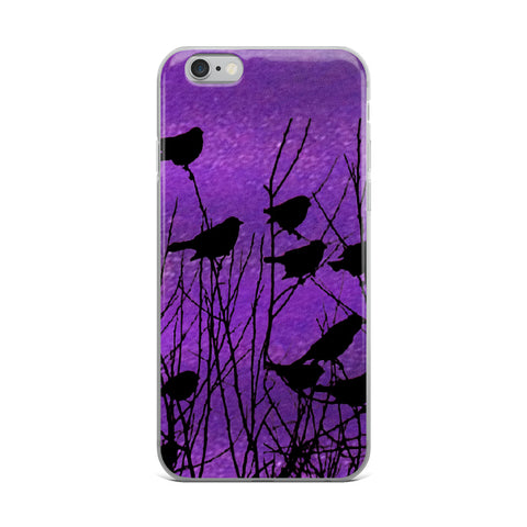 Shadow Birds on Purple-Cell Phone Case - Fits iPhone X and Other Sizes 5-X