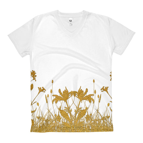 Paris METRO Couture: Gold Meadow - Women's V-Neck T-Shirt - ParisMETROCouture.com