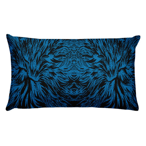 Abstraction Petal - Blue Rectangular Pillow