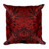 Abstraction Petal in Red Square Pillow