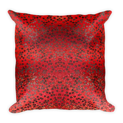 On My Way Little Flower Square Pillow - Red