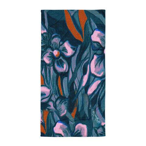 Hawaiian Vintage Flowers in Navy Beach Towel