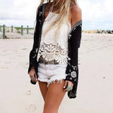 Vintage Style Boho Cotton Long Sleeve Embroidered Cardigan Beach Shirt