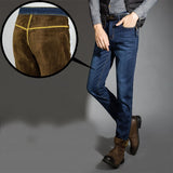 Warm High Quality Flock Lined Denim Stretch Jeans