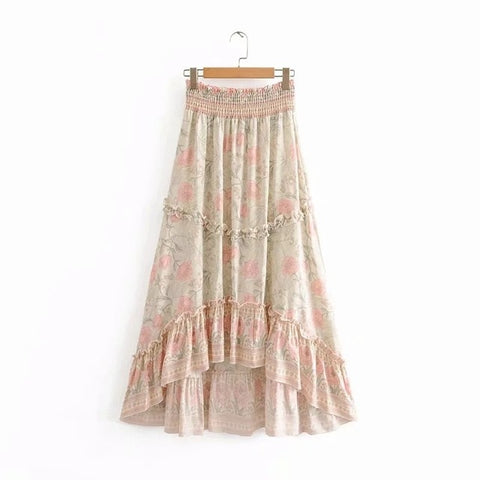 Waist Maxi Skirts Floral Cotton Skirt High and Low