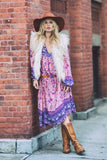 Que faire, What to do,Colorful Puff Sleeve Floral Print Holiday Tassel Dress