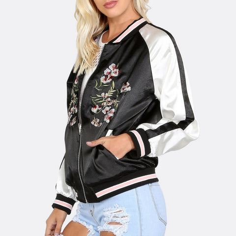 Floral Embroidery Satin Sport Jacket