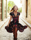 Ethnic Sexy Print Retro Vintage Dress Tassel Beach Dress