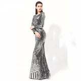 Geo Silver Metallic Modern Long Sleeve Sexy Formal Evening Gown with See Through Back