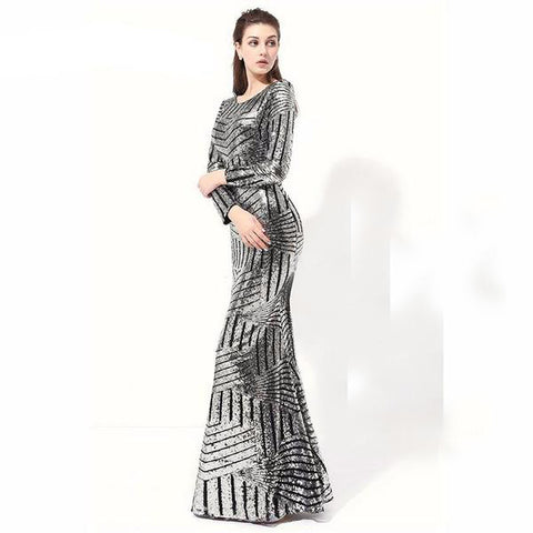 e7dd7b17630 Geo Silver Metallic Modern Long Sleeve Sexy Formal Evening Gown with See  Through Back