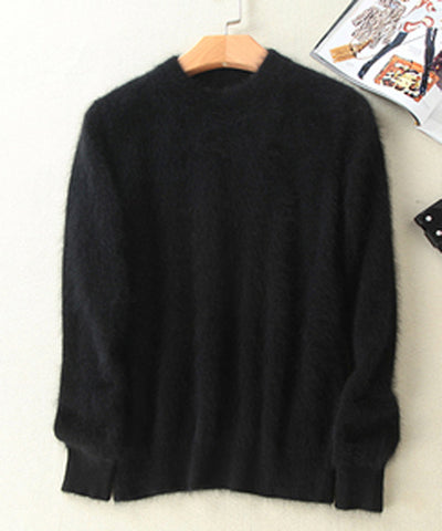 Mink Cashmere Soft  Elastic Sweaters and Pullover Crew Neck