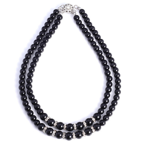 Women's Two Strand Rhinestone Black/ White Simulated Pearl Necklace
