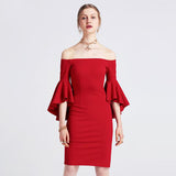 Off Shoulder Flare Sleeve Sheath Knee Length Red Party Dress