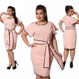 Outline Geo Butterfly Sleeve Plus Size Elegant Office Dress with Sashes