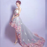 Modern Renaissance Flower Strapless Sleeveless Short Front, Long Back Evening Formal Party Dress