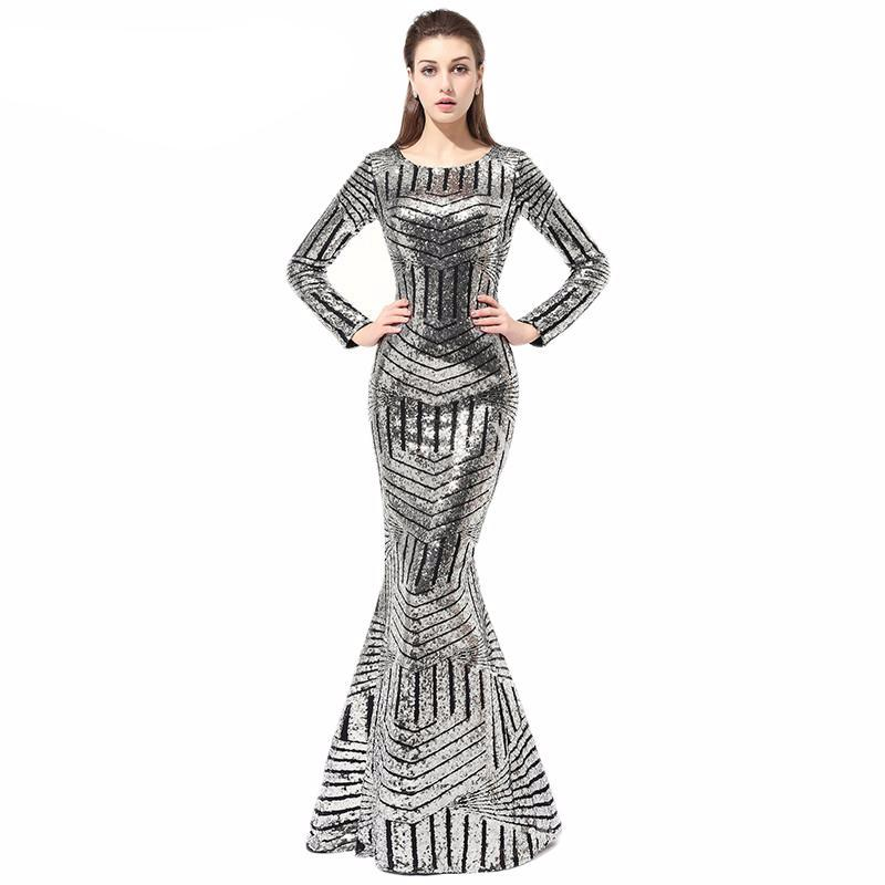 34296713b59 Geo Silver Metallic Modern Long Sleeve Sexy Formal Evening Gown with S