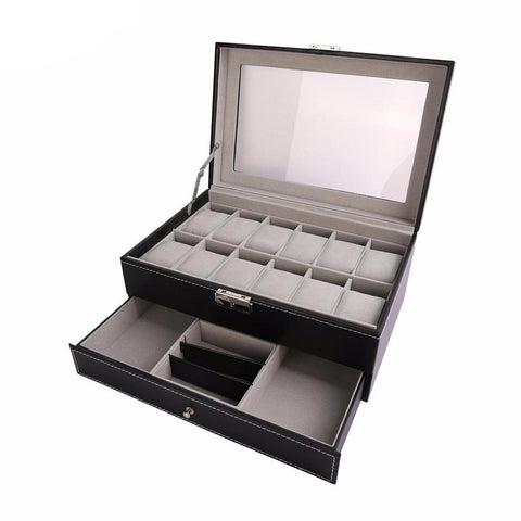 Jewelry Organizer Storage Case with Lock Key Drawer-Black