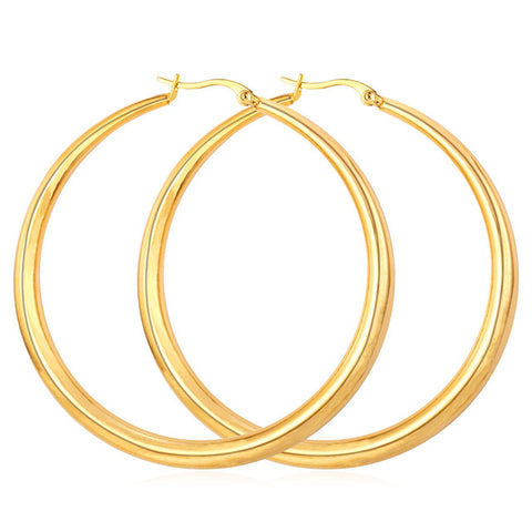 Gold Color Hiphop Big Hoop Round Earrings Stainless Steel Jewelry