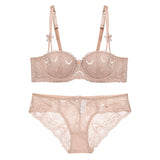 French Lingerie Top Quality White Half Cup Thin Lace Embroidery Bralette Set