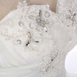 Off-Shoulder Lace-up Beaded Crystal Ball Rose Motif Sequin Wedding Gown in Ivory & Champagne