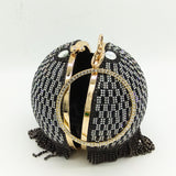 Charming Round Tassel Wristlets Evening Wrist Ring Clutch Purse