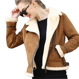 Lambswool Sheepskin Faux Leather Biker Jacket